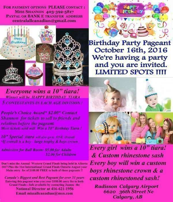 2016 BIRTHDAY PAGEANT - ALBERTA - MISS ALL CANADIAN PAGEANTS