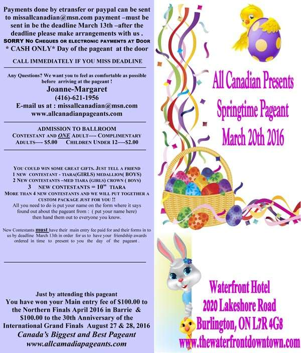 2016 EASTER DARLING PAGEANT - MISS ALL CANADIAN PAGEANTS