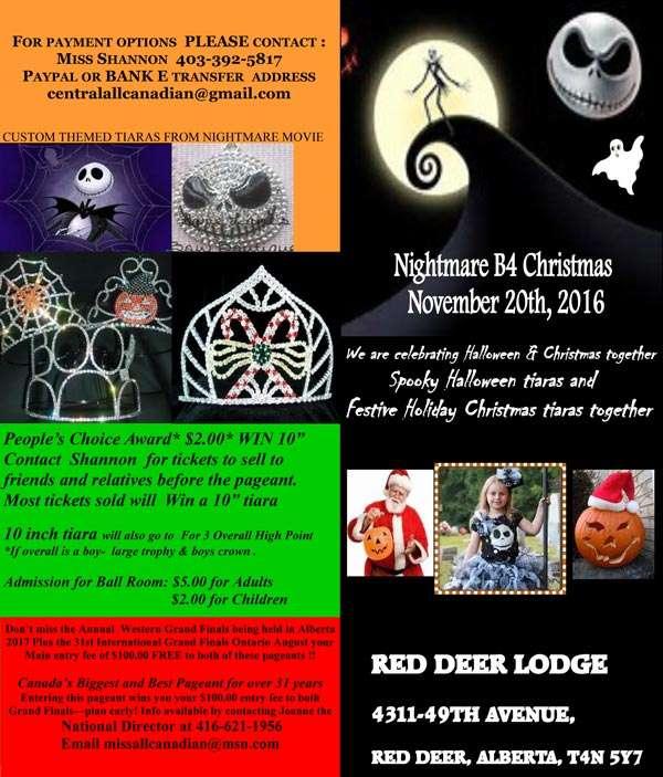 2016 NIGHTMARE B4 CHRISTMAS - ALBERTA - MISS ALL CANADIAN PAGEANTS